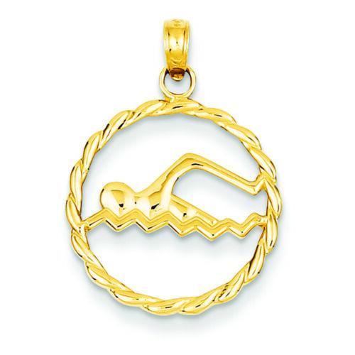 14K Yellow Gold Swimming Charm Pendant MSRP $171