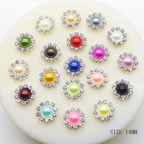 14 mm Flatback Cristal Estrás Perla Botón Adornos Decoración para Boda 10 un