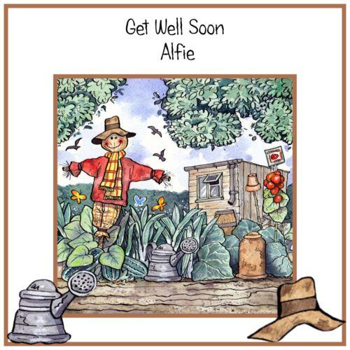 Handmade Personnalisé Get Well Soon Carte Jardinage allotissement Scarecrow