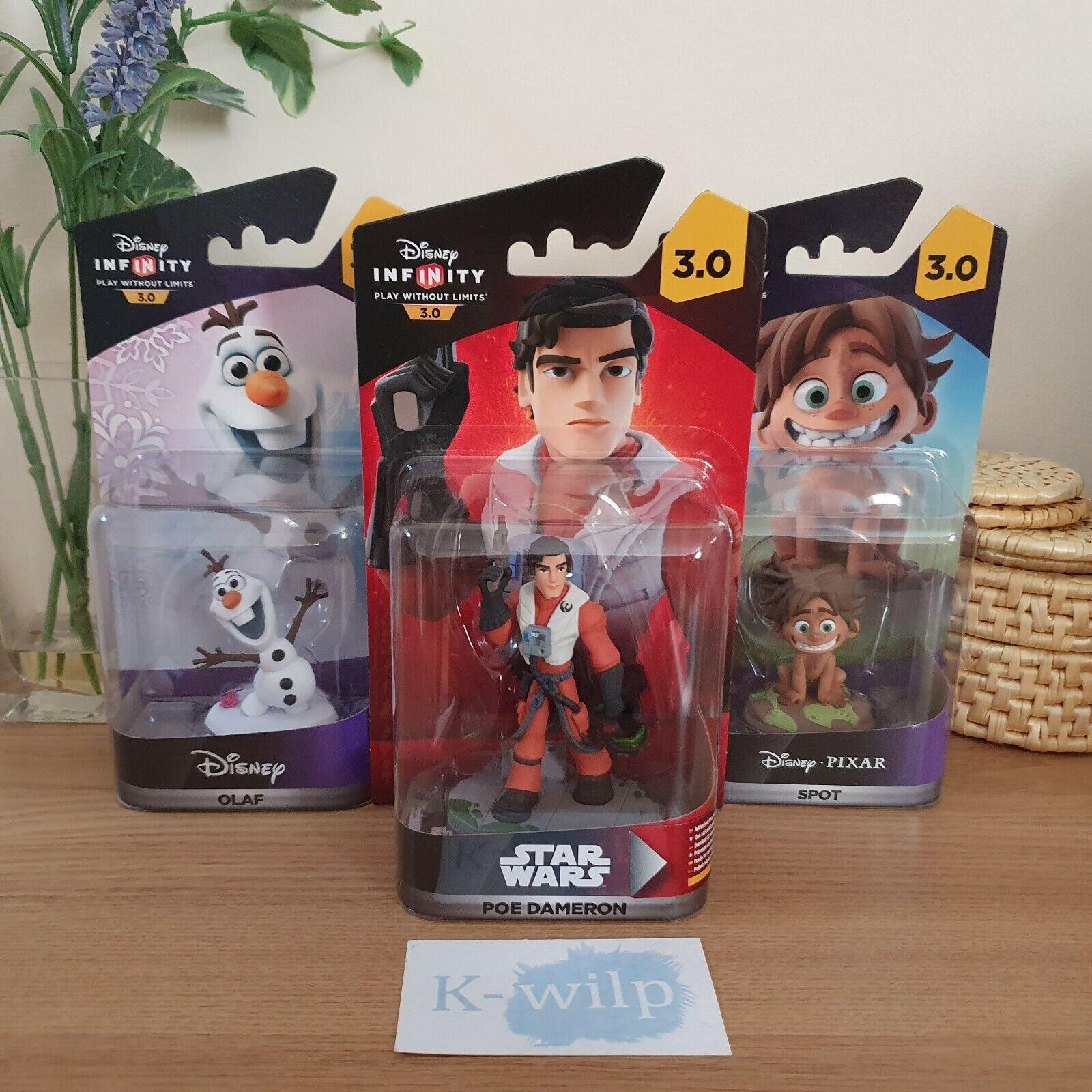 3 x Disney Infinity 3.0 Figures - Olaf - Spot - Poe Dameron - Brand New & Sealed