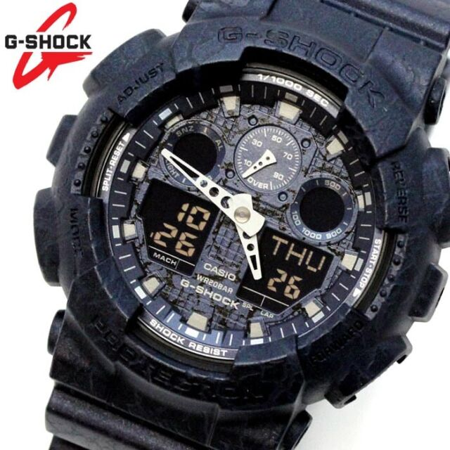 CASIO G-SHOCK WATCH GA-100CG-2A FREE EXPRESS BLUE CRACKED PATTERN GA100CG-2ADR