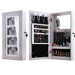 "24"" Lockable Wall Mount Mirrored Jewelry Cabinet Organizer ..."