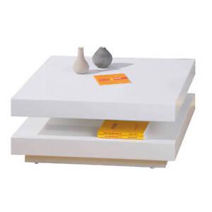Meuble Tv Table Basse Design Moderne Avec Rangements Carré Blanc