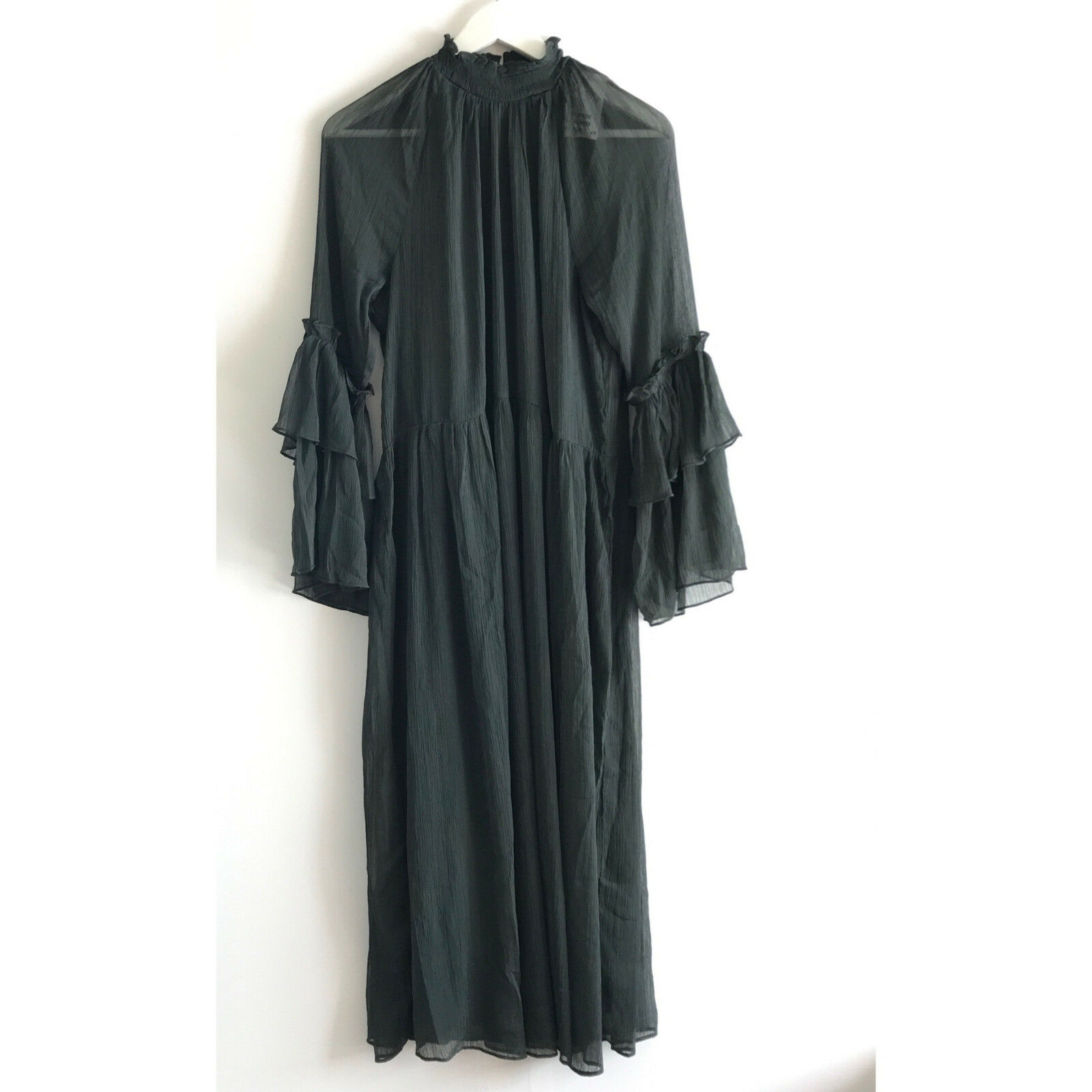 H&M CRINKLED FRILLED DRESS - Size UK VARIOUS
