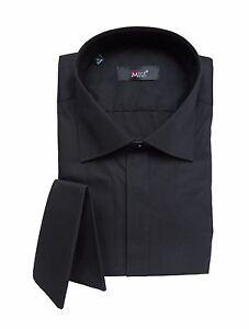 Herren-Hemd-mit-Einstecktuch-Gr-M-Schwarz