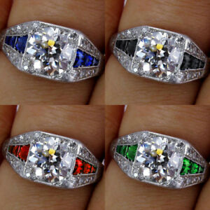 Fashion-925-Argent-Blanc-Topaze-amp-Saphir-amp-Emerald-Wedding-Band-Anneaux-Hot-Wholesale