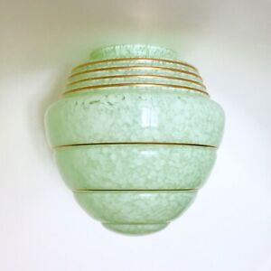 Details About Vintage Art Deco Mid Century Green Mottled Glass Lamp Shade Flame Pendant Light