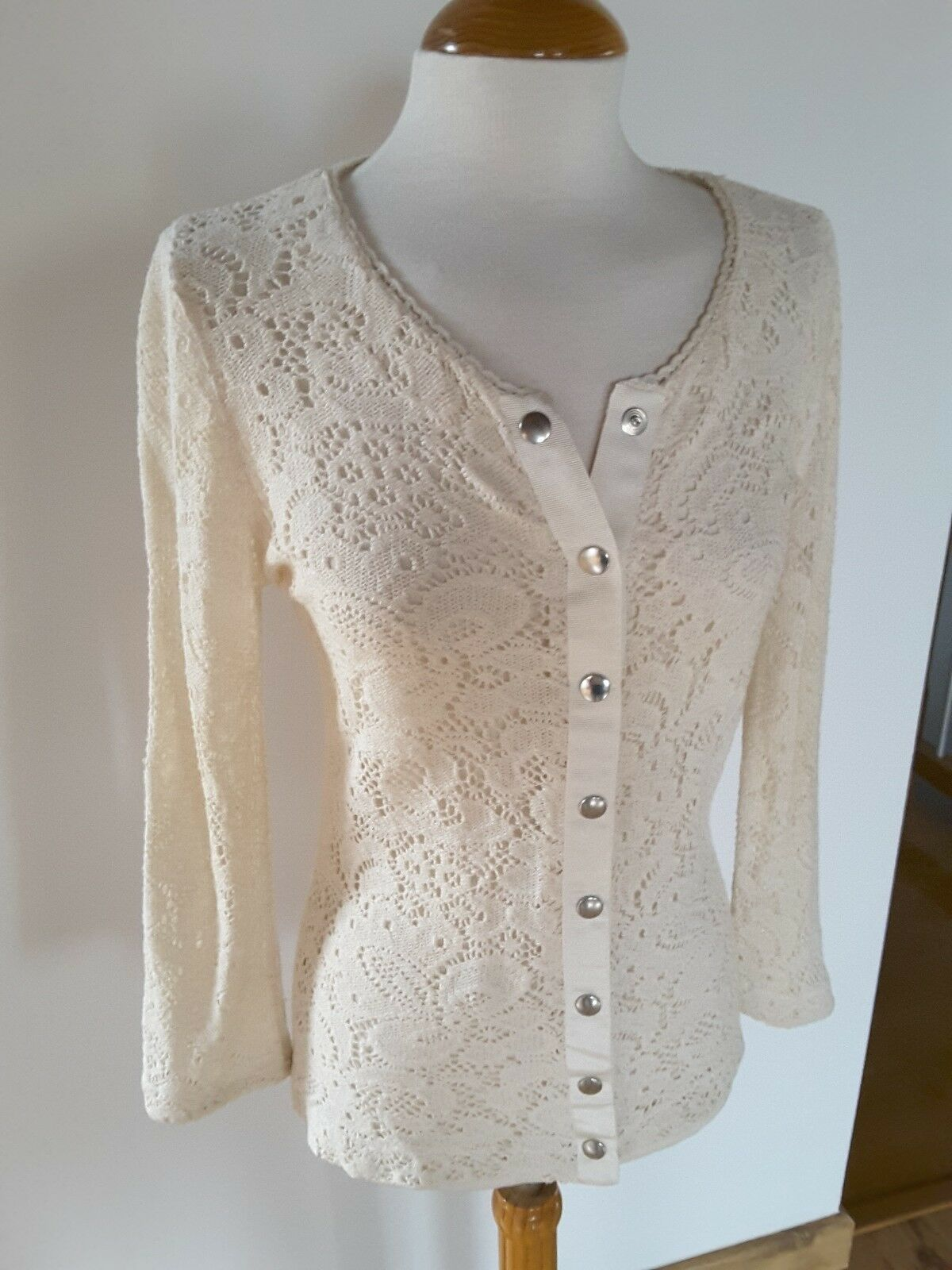 CORDON FOR EL CORTE INGLES BEIGE COTYON LACE CARDIGAN size 42 OR M