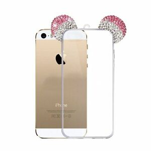 new styles ef986 0bbb3 Details about for iPhone 5S / SE - Pink Diamond Rhinestone Minnie Mouse  Ears Rubber Gummy Case