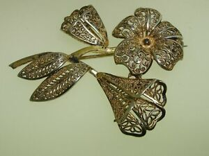 BEAUTIFUL-VINTAGE-STERLING-SILVER-FILIGREE-FLORAL-PIN-SIGNED-GERMANY