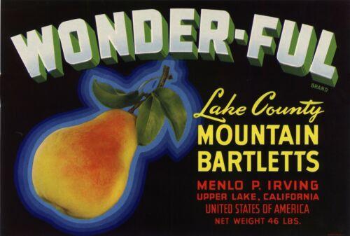 PEAR CRATE LABEL WONDER-FUL UPPER LAKE COUNTY CALIFORNIA 1940S ORIGINAL VINTAGE
