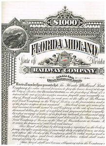 Florida-Midland-Railway-Co-1886-1000-bond-uncancelled-coupons-scarce