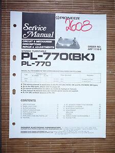 Original Reisen Aufstrebend Service-manual Für Pioneer Pl-770