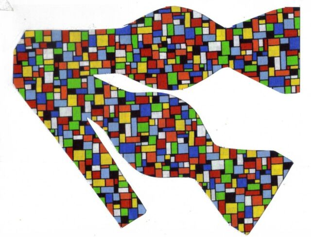 (1) BOW TIE - MULT-COLORED TILES - RED, BLUE, GREEN, YELLOW, ORANGE & BLACK