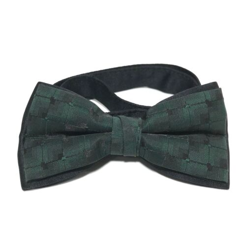Vintage Bow Tie Mens Butterfly Pre Tied Green Plaid Adjustable Wedding USA Made