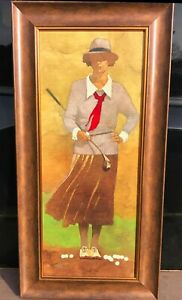 Art-Print-Of-Vintage-Woman-Golfer-Scotland-England-Golf-Art-Collectible-Signed