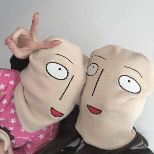 Beanie Men Women Hat One Punch Man Funny Ski Knit Cap Cartoon Anime Bald Saitama