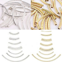 Curved Tube Silver Gold Plated Elbow Noodle Spacer Loose Beads Many Sizes
