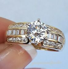 2.58 Carat 14k yellow Gold round baguette Man Made Diamond Engagement Ring 7