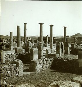 ALGERIE-Timgad-Archeologiques-c1900-Photo-Stereo-Plaque-Verre-VR8L1
