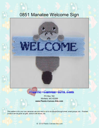 Manatee Welcome Sign Plastic Canvas Pattern or Kit