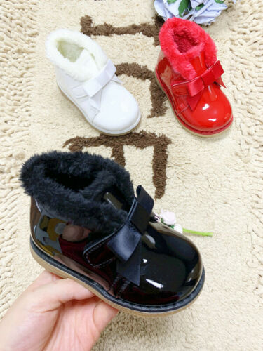 Toddler Kids Baby Girl Boy Fur Lined Chelsea Snow Ankle Boots Winter Warm Shoes