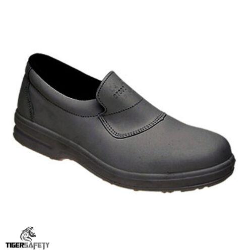 Toesavers 3455 S1 SRC Femmes Noir Cuir Slip On Steel Toe Cap Chaussures de sécurité