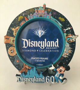 "Disneyland Resort Diamond Celebration 60th Anniversary Photo Frame 6"" Round NWOT"