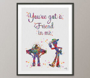 Details About Toy Story Watercolor Print Friends Quote Woody And Buzz Nursery Wall Kids Art