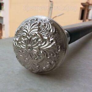 Details about  /Silver Brass Piller Head Handle Vintage Wooden Walking Stick Victorian Cane