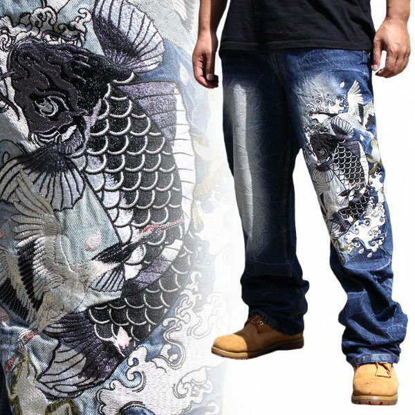 Mens Jeans Japanese Pattern Embroidery Denim Straight Fit Trousers Carp Koi Fish