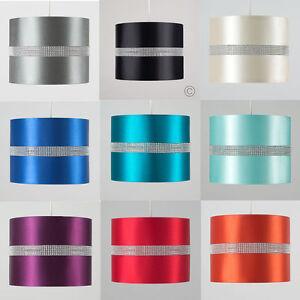 Decorative-Cotton-Fabric-Drum-Shade-Diamante-Detail-Light-Lamp-Acrylic-Beads-NEW