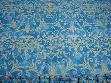 2.9 Yards Quilt Cotton Fabric - RJR Deb Grogan Holiday Dreams Filigree Teal Ylw