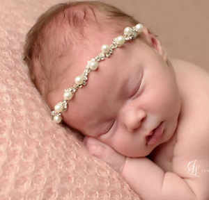 Baby Girl Newborn Headband Hairband Blink Rhinestone Pearls Sparkle Photo Prop