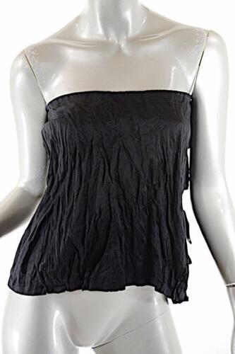 PRADA Black Cotton/Metal Blend Crinkled Bustier to