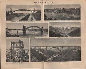 MéThodique Lithographie 1901: Fer-ponts. Chicago Ecosse Berne Kuilenburg Fer Pont-afficher Le Titre D'origine Couleur Rapide