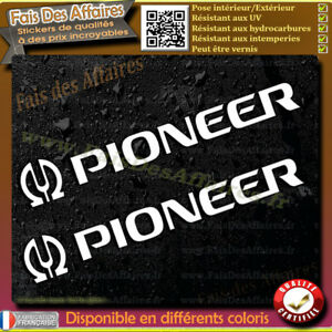 2-Stickers-Autocollant-Pioneer-sponsor-lot-planche-sticker-car-audio-decal