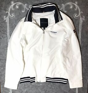 Details about Mens Tommy Hilfiger Yacht Jacket White Windbreaker Water Resitant Size L EUC.