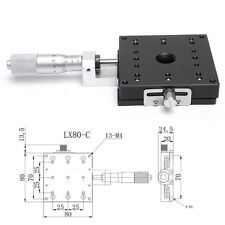 80x80m X-Axis Precision Micrometer Manual Cross Rail Linear Stage Slider Bearing