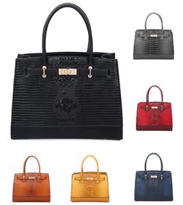 New-Women-Large-Faux-Croc-Leather-Gold-TurnLock-Finish-Tote-Handbag-Shoulder-Bag
