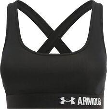 Under armour ladies crossback mid-impact bra M medium black heatgear bnwt