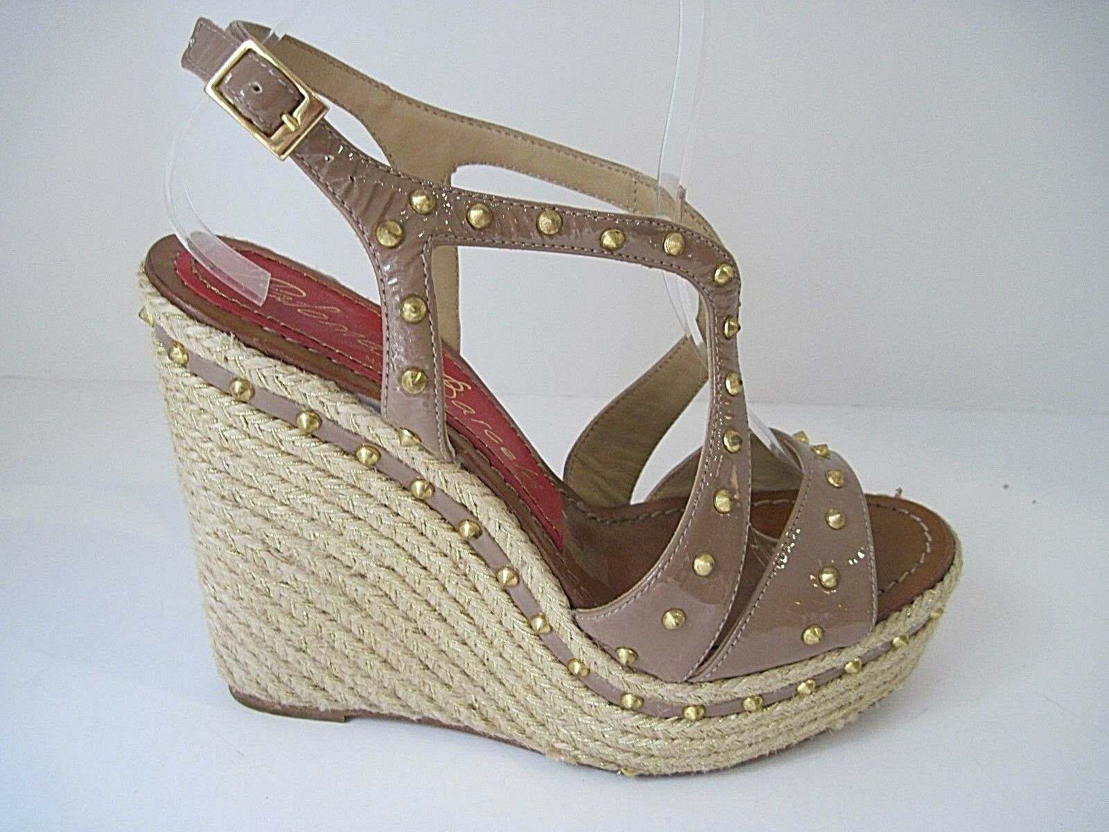 PALOMA BARCELO BROWN BROWN BROWN  PATENT LEATHER ESPADRILLE PLATFORM WEDGE BRASS STUDS SZ.8 0d0277