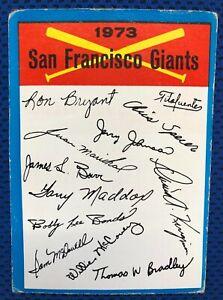 New Listing 1973 TOPPS BLUE TEAM CHECKLIST (San Francisco Giants) Baseball Card