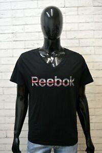 Maglia Uomo REEBOK Taglia XL Maglia Manica Corta Hemd Shirt Nera Cotone Jersey