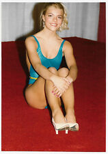 Vintage 80s PHOTO Young Blond Woman Girl Modeling Swimsuit Sitting On Ground