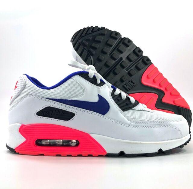 Mens Nike Air Max 90 Essential White Solar Red Black Ultramarine 537384 136 US 11