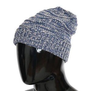 05c7d9cbc33 NEW  240 DOLCE   GABBANA Hat Beanie Wool Blue White Winter Warm Mens ...
