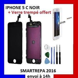 VITRE-TACTILE-IPHONE-5C-NOIR-COMPLET-ECRAN-LCD-RETINA-SUR-CHASSIS-OUTILS