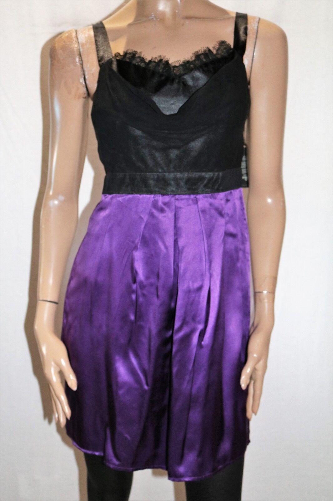 Grace & hart Brand schwarz lila Silk Party Cocktail Dress Größe 10 BNWT  TT81