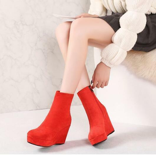 New Women Round Toe Zip Wedge Heels Suede Ankle Boots Winter shoes Size e88
